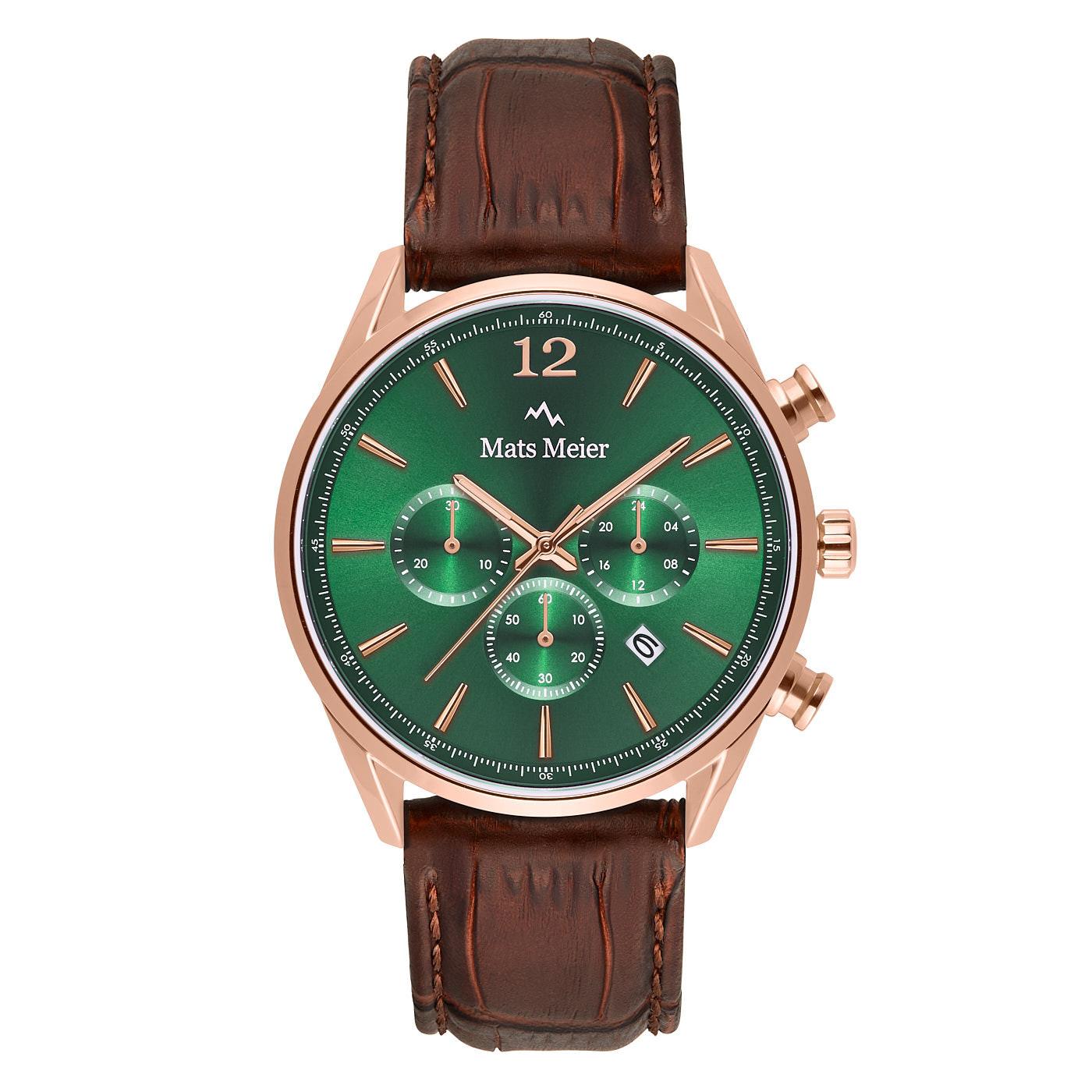 Mats Meier Grand Cornier montre chronographe vert / rosé / marron