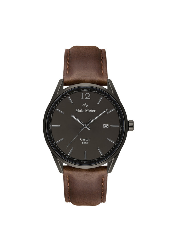 Mats Meier Castor mens watch gunmetal / dark brown