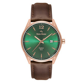 Mats Meier Castor mens watch green  / rose gold colored / dark brown