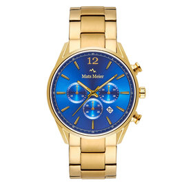 Mats Meier Grand Cornier chronograph watch blue/gold steel