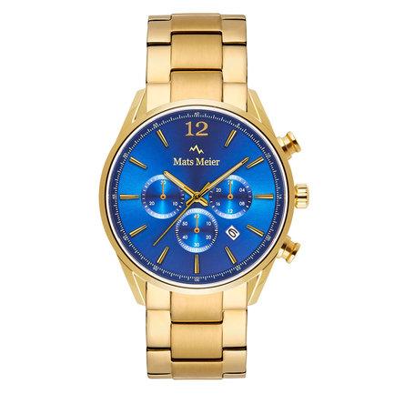 Mats Meier Grand Cornier montre chronographe bleu / acier couleur or