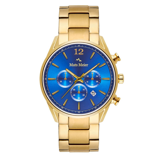 Mats Meier Grand Cornier chronograaf herenhorloge goudkleurig en blauw