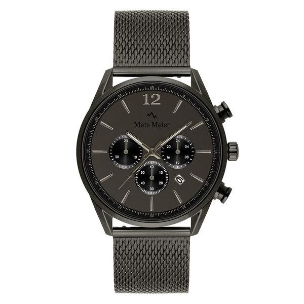 Mats Meier Grand Cornier chronograph mens watch matte gunmetal mesh