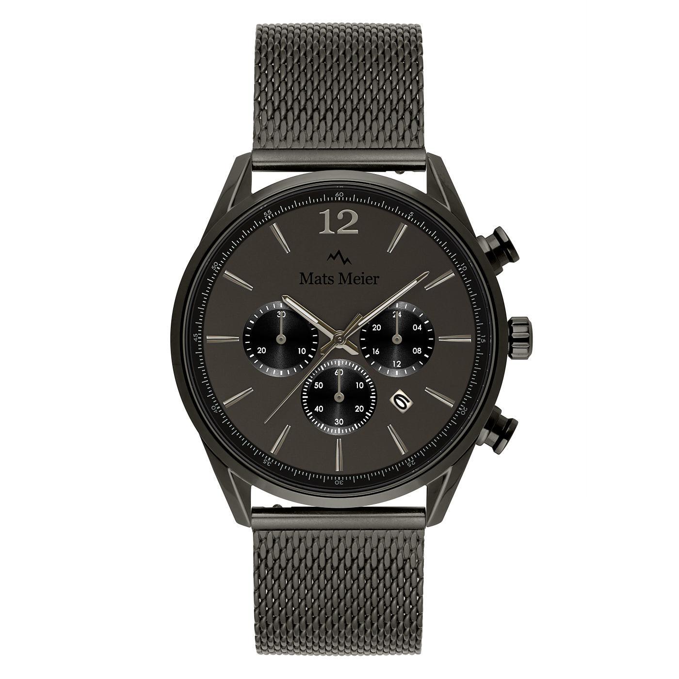 Mats Meier Grand Cornier montre chronographe mat gunmetal maille