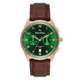 Mats Meier Mont Vélan chronograph mens watch green / rose gold colored / brown