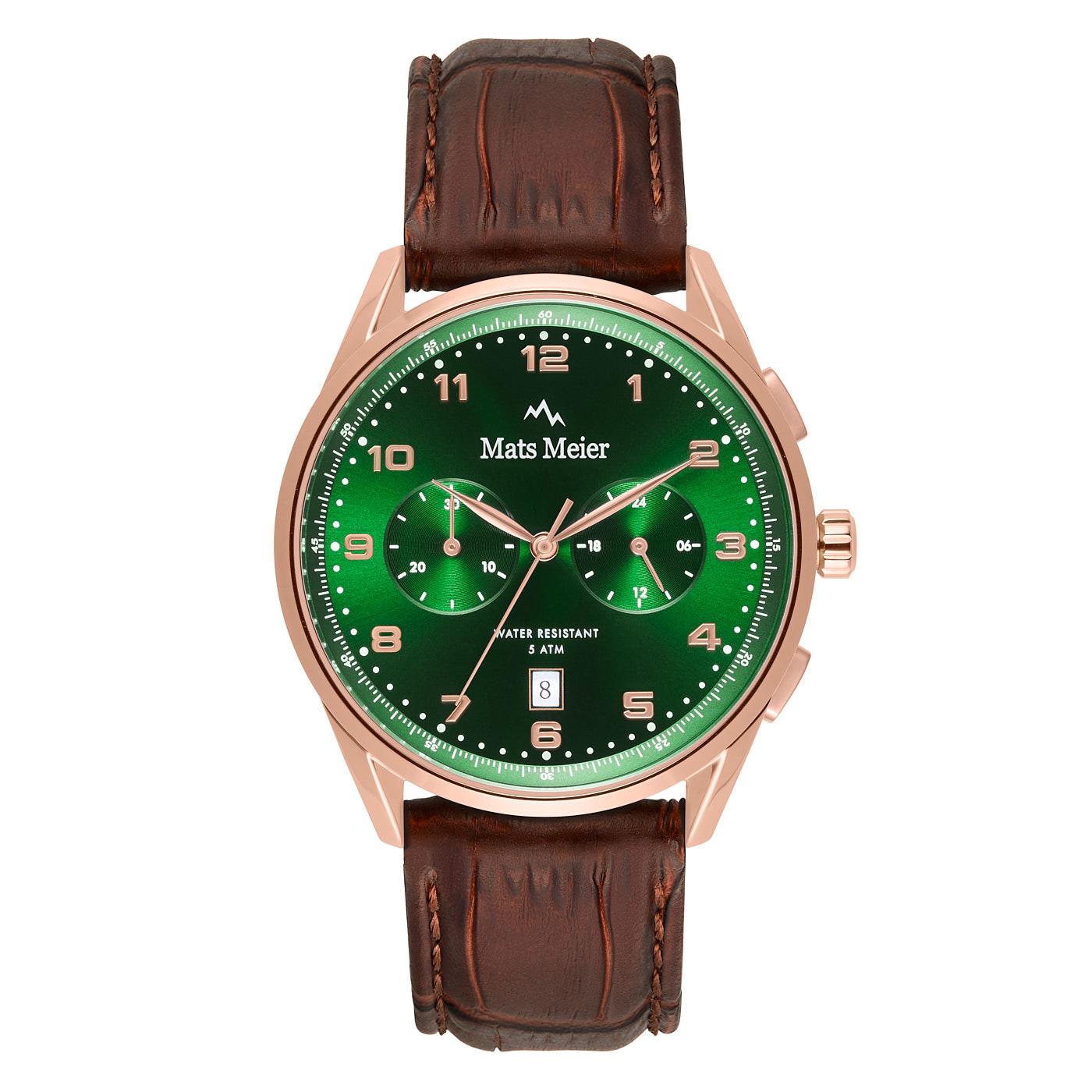 Mats Meier Mont Vélan chronograaf horloge groen/rosé/bruin