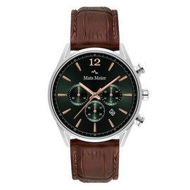 Mats Meier Grand Cornier chronograaf horloge groen/zilverkleurig/bruin