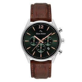 Mats Meier Grand Cornier chronograph mens watch green / silver colored / brown
