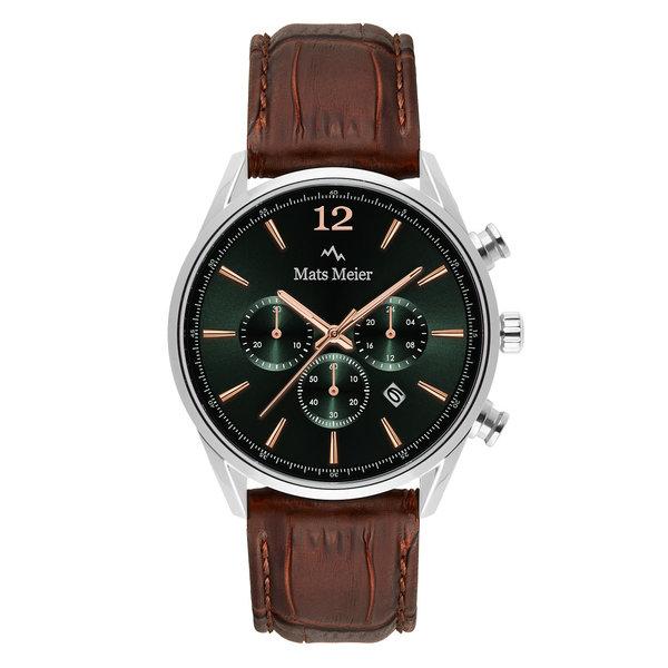 Mats Meier Grand Cornier kronografklocka grön/silverfärgad/brun