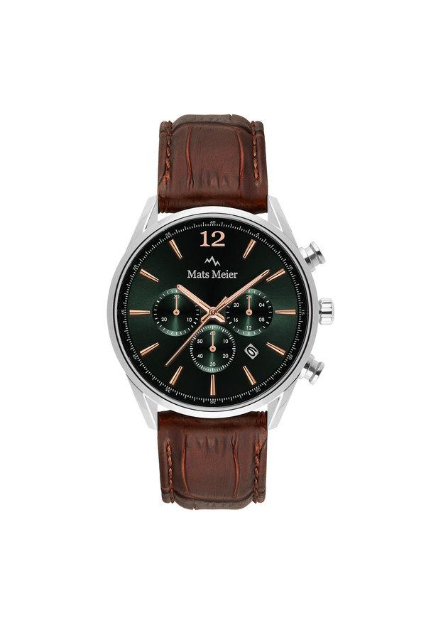 Mats Meier Grand Cornier montre chronographe vert / couleur argent / marron