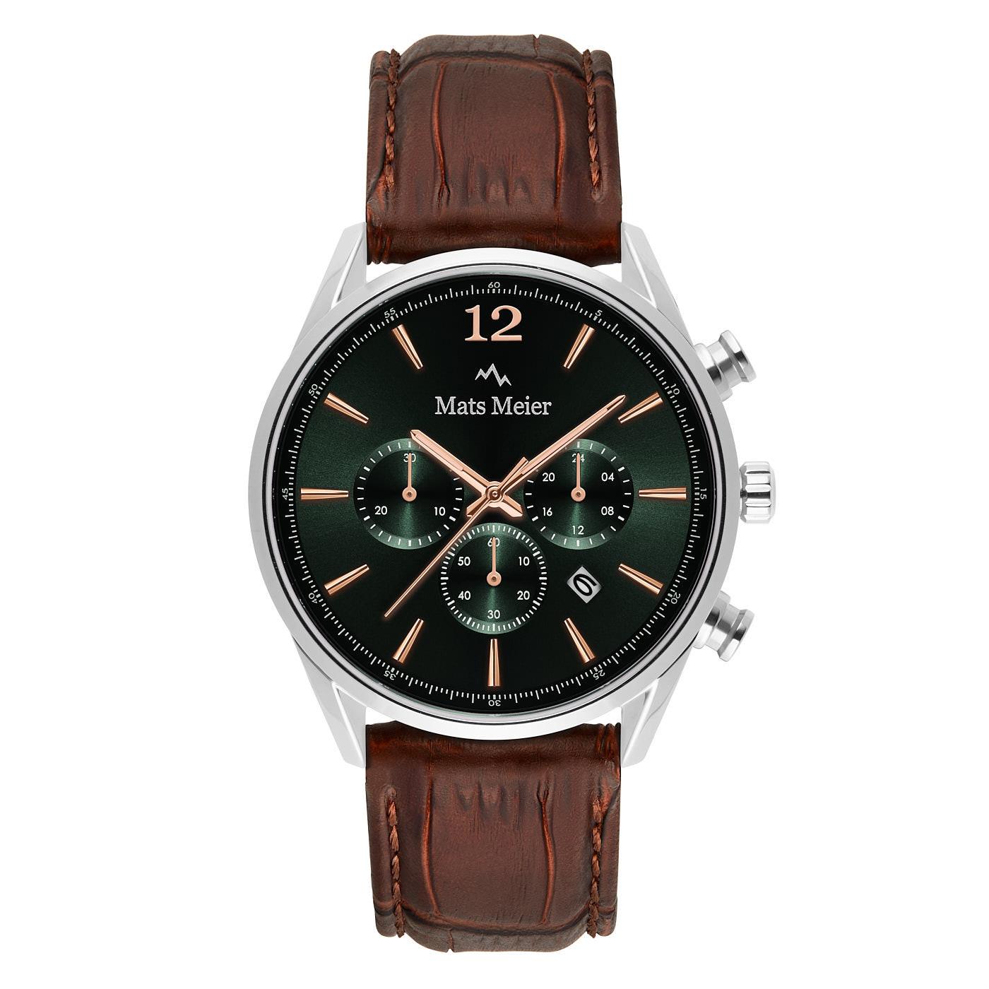 Mats Meier Grand Cornier chronograaf herenhorloge groen / zilverkleurig / bruin