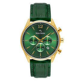Mats Meier Grand Cornier chronograph watch green/gold colored steel