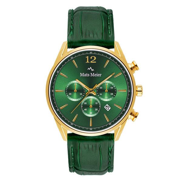 Mats Meier Grand Cornier chronograaf herenhorloge groen en goudkleurig