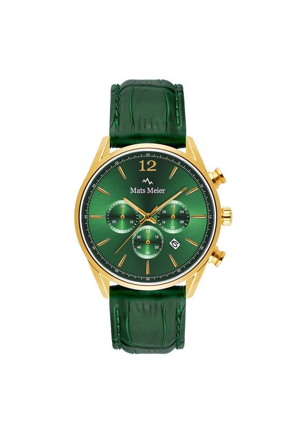 Mats Meier Grand Cornier kronografklocka grön/guldfärgad