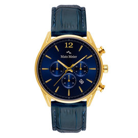 Mats Meier Grand Cornier montre chronographe bleu / couleur or
