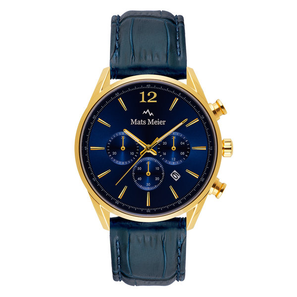 Mats Meier Grand Cornier chronograaf herenhorloge blauw en goudkleurig