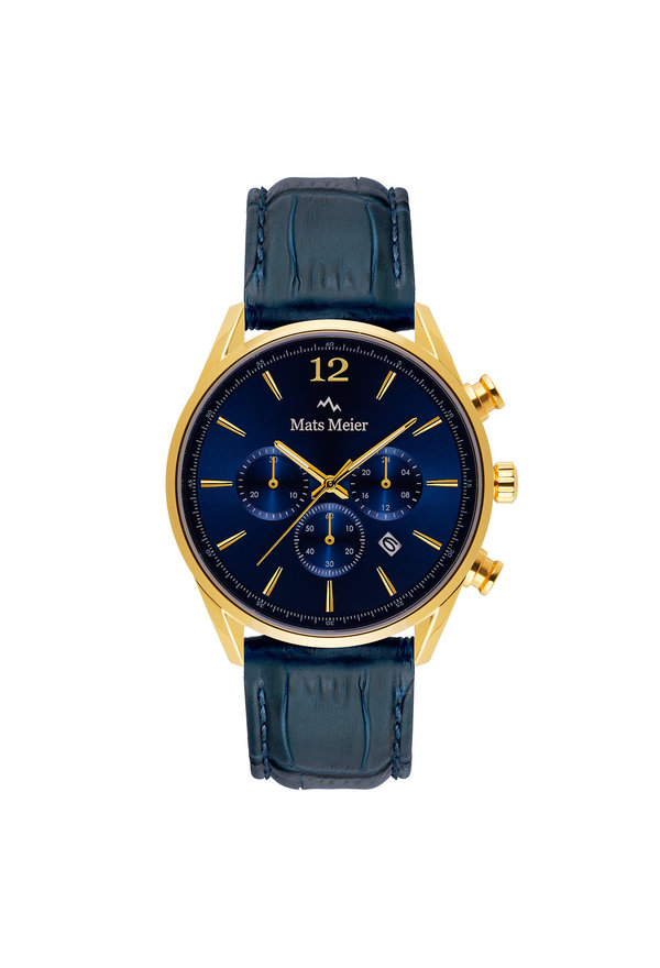 Mats Meier Grand Cornier chronograph mens watch blue / gold colored