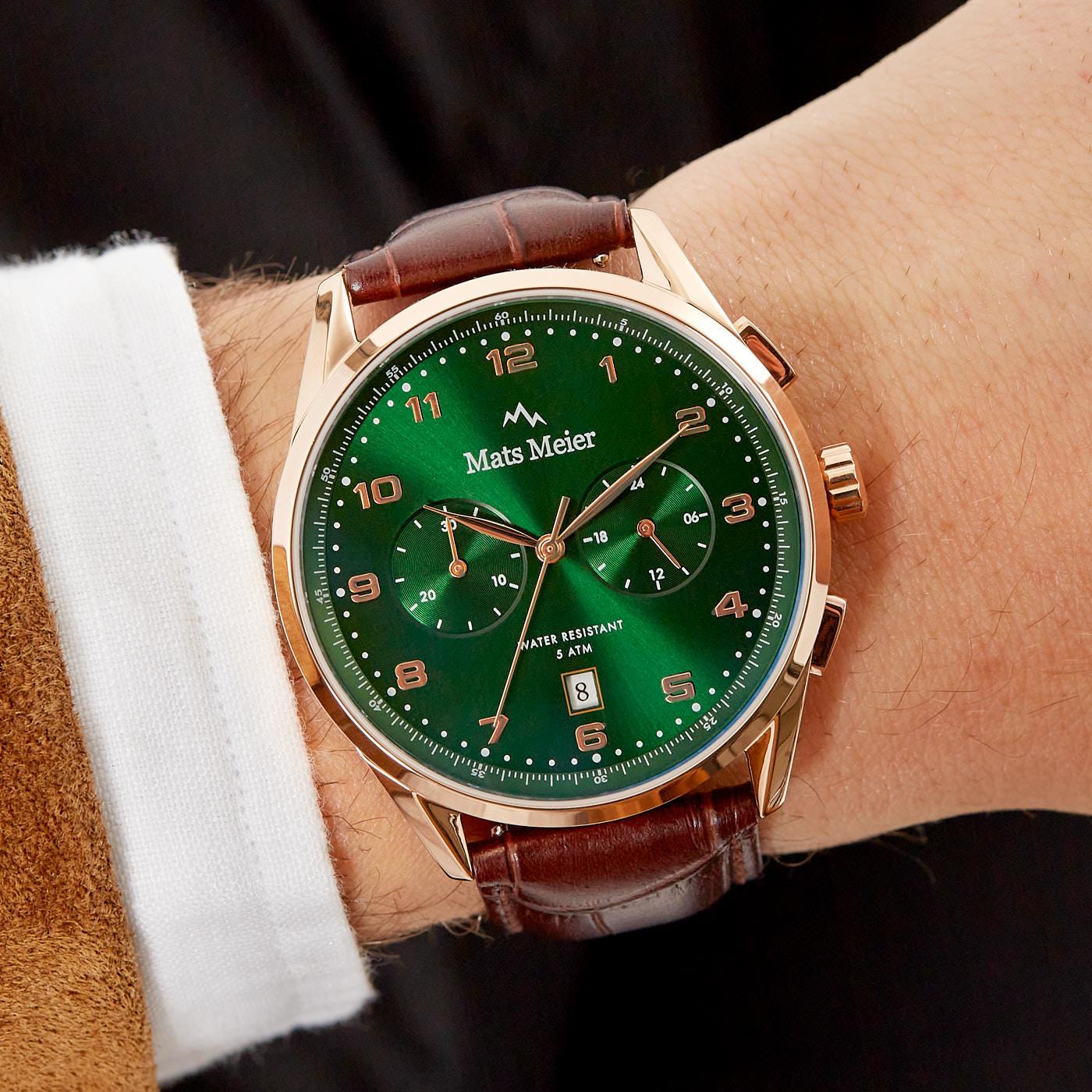 Mats Meier Mont Vélan chronograaf herenhorloge groen / rosé goudkleurig / bruin