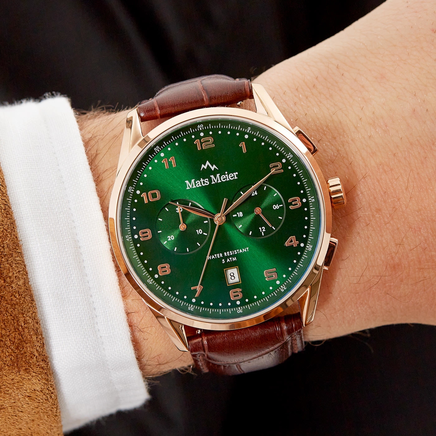 Mats Meier Mont Vélan Chronograph grün/rosé/braun