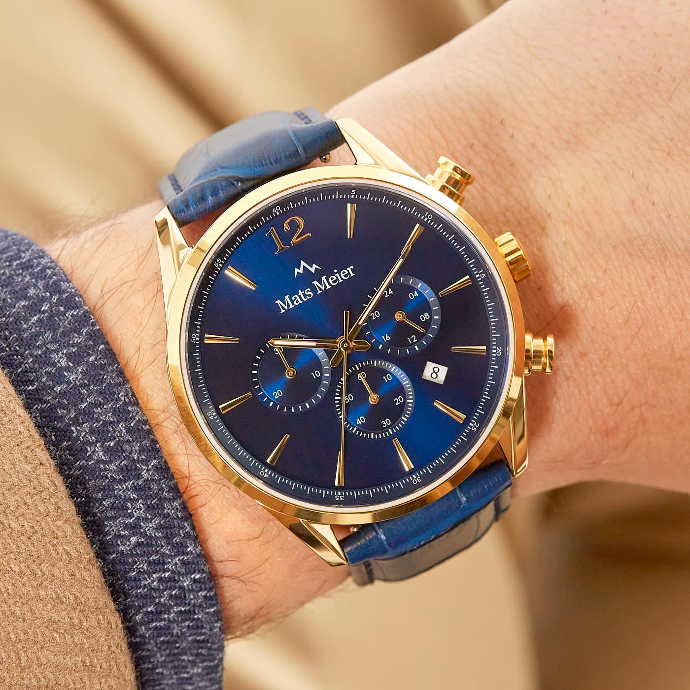 Mats Meier Grand Cornier chronograph watch blue/gold colored