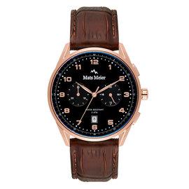 Mats Meier Mont Vélan chronograaf herenhorloge zwart / rosé goudkleurig / bruin