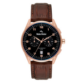 Mats Meier Mont Vélan chronograph mens watch black / rose gold colored / brown