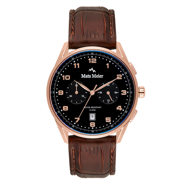 Mats Meier Mont Vélan chronograph mens watch black / rose gold colored / brown