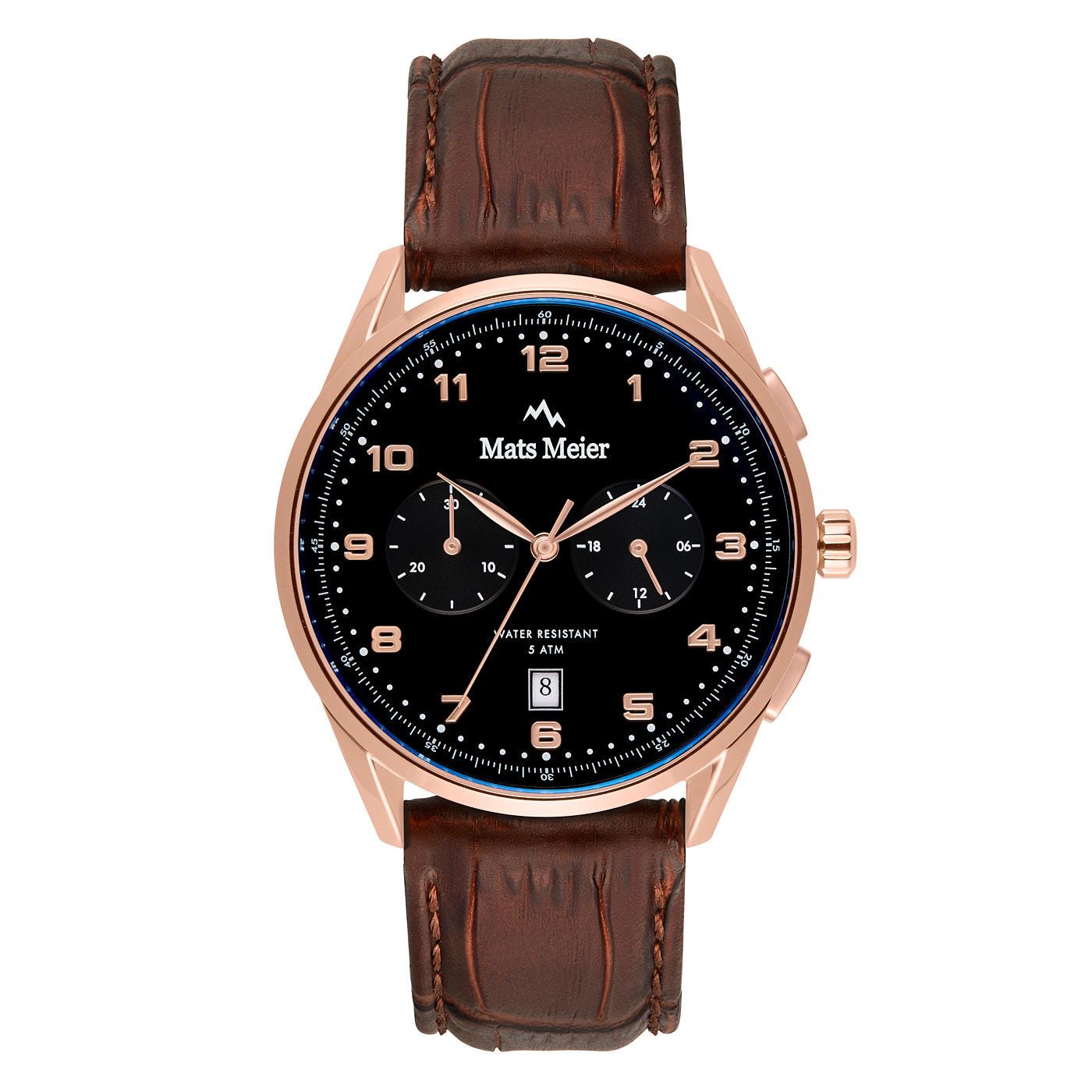 Mats Meier Mont Vélan chronograph watch black/rosé/brown