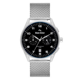 Mats Meier Mont Vélan chronograph watch black/silver colored mesh