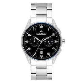 Mats Meier Mont Vélan chronograaf horloge zwart/zilverkleurig staal