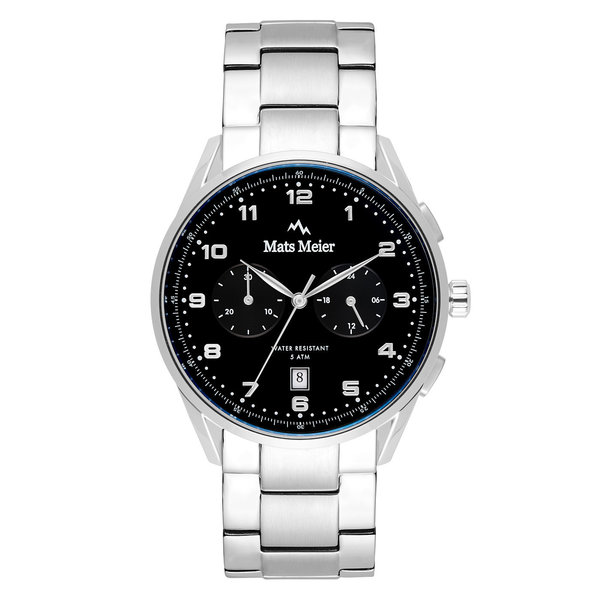 Mats Meier Mont Vélan chronograaf herenhorloge zilverkleurig en zwart
