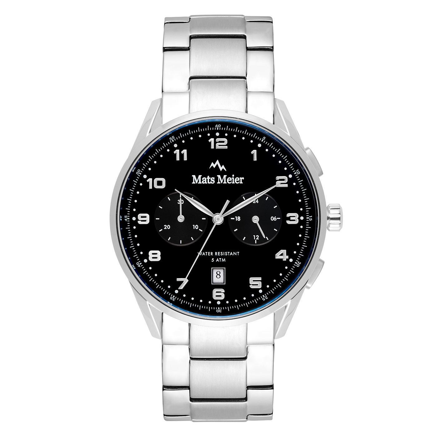 Mats Meier Mont Vélan chronograaf herenhorloge zwart / zilverkleurig