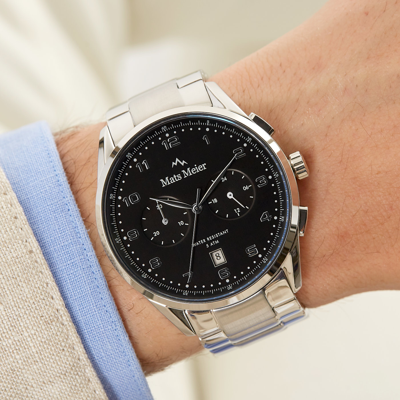 Mats Meier Mont Vélan montre chronographe noir / acier couleur argent