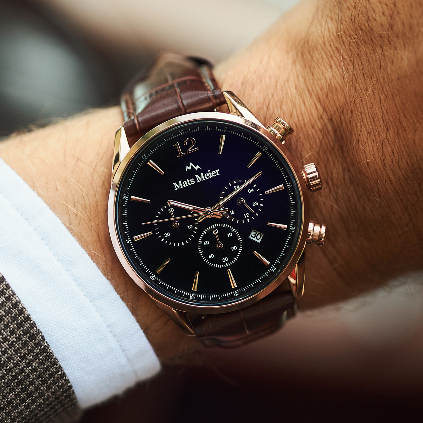 Mats Meier Grand Cornier montre chronographe noir / marron