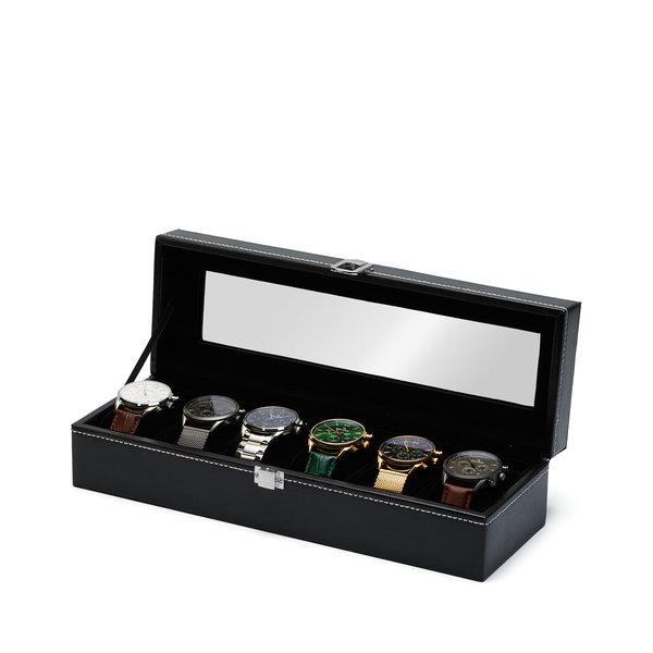 Mats Meier Mont Fort horlogebox zwart - 6 horloges
