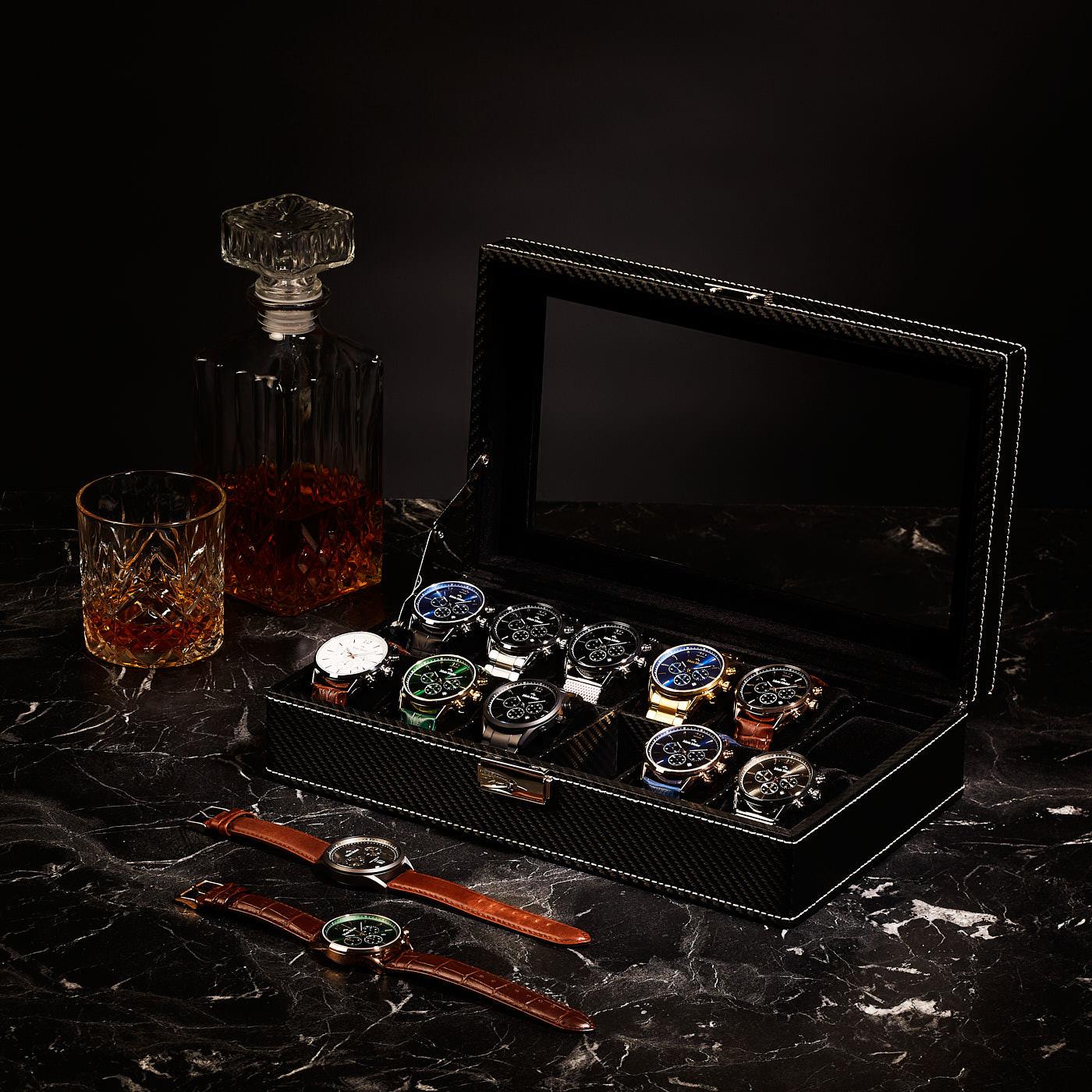 Mats Meier Mont Fort boîte à montres noir - 12 montres
