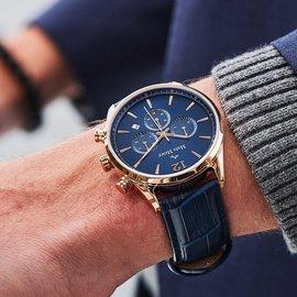 Mats Meier Grand Cornier kronografklocka blå / rosa guldfärgad
