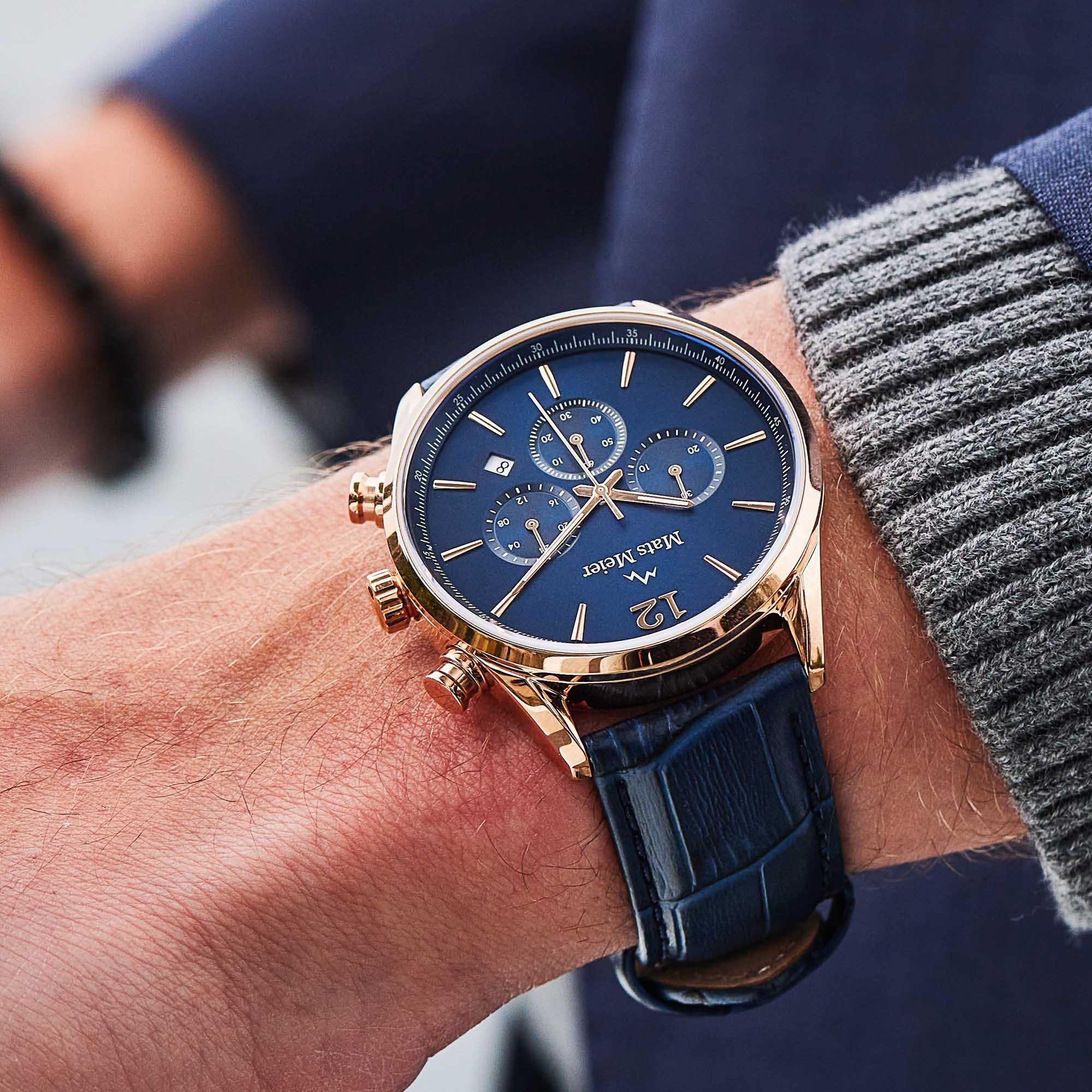 Mats Meier Grand Cornier chronograph blue / rose gold colored