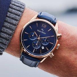 Mats Meier Grand Cornier chronograaf herenhorloge blauw/ roségoud