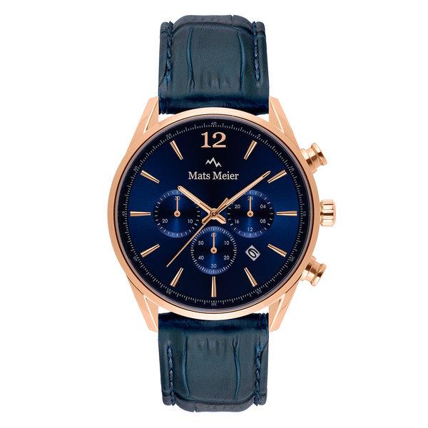 Mats Meier Grand Cornier chronograaf herenhorloge blauw en rosé goudkleurig