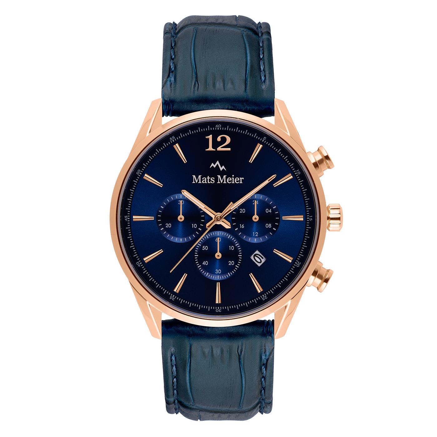 Mats Meier Grand Cornier chronograph Blau / Roségoldfarben