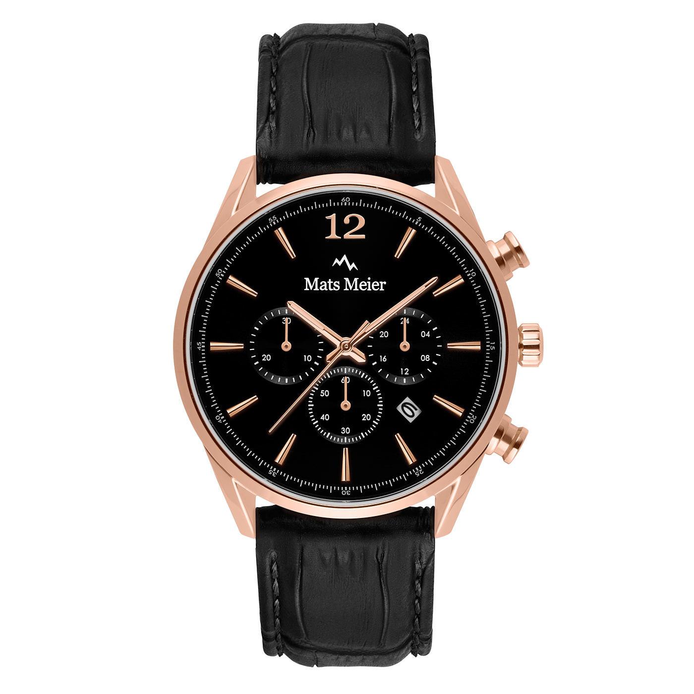 Mats Meier Grand Cornier kronografklocka svart / rosa guldfärgad