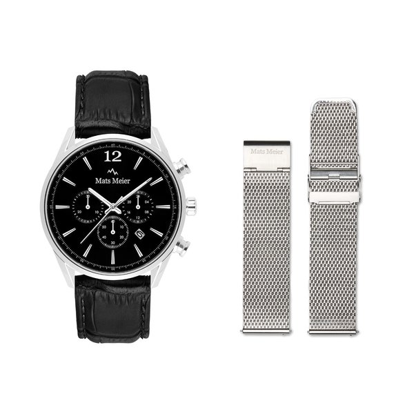 Mats Meier Grand Combin chronograph mens watch and strap giftset