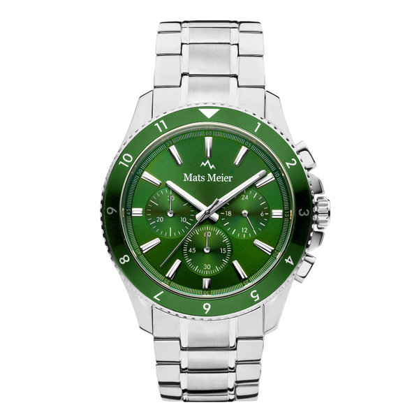 Mats Meier Ponte Dei Salti Chronohraph Mens Watch Silver / Green