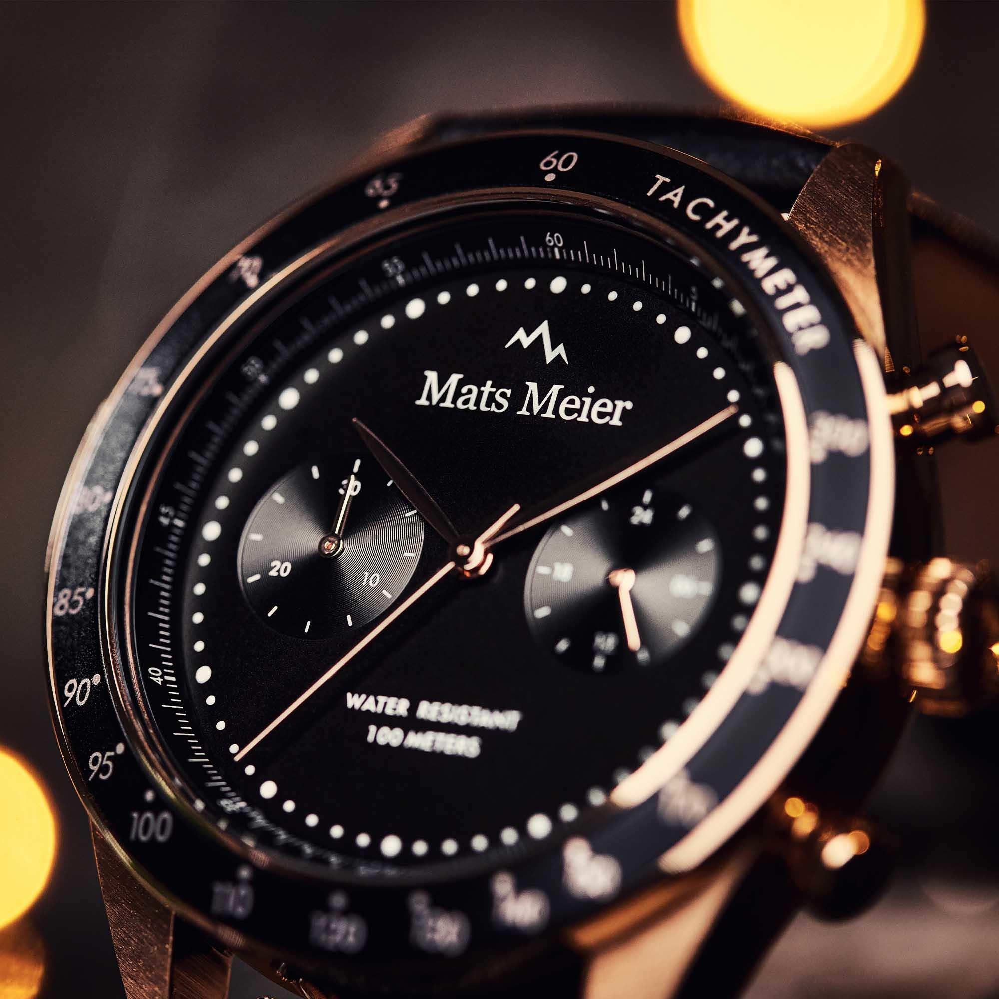 Mats Meier Arosa Racing Chronograaf herenhorloge zwart en rosé goudkleurig