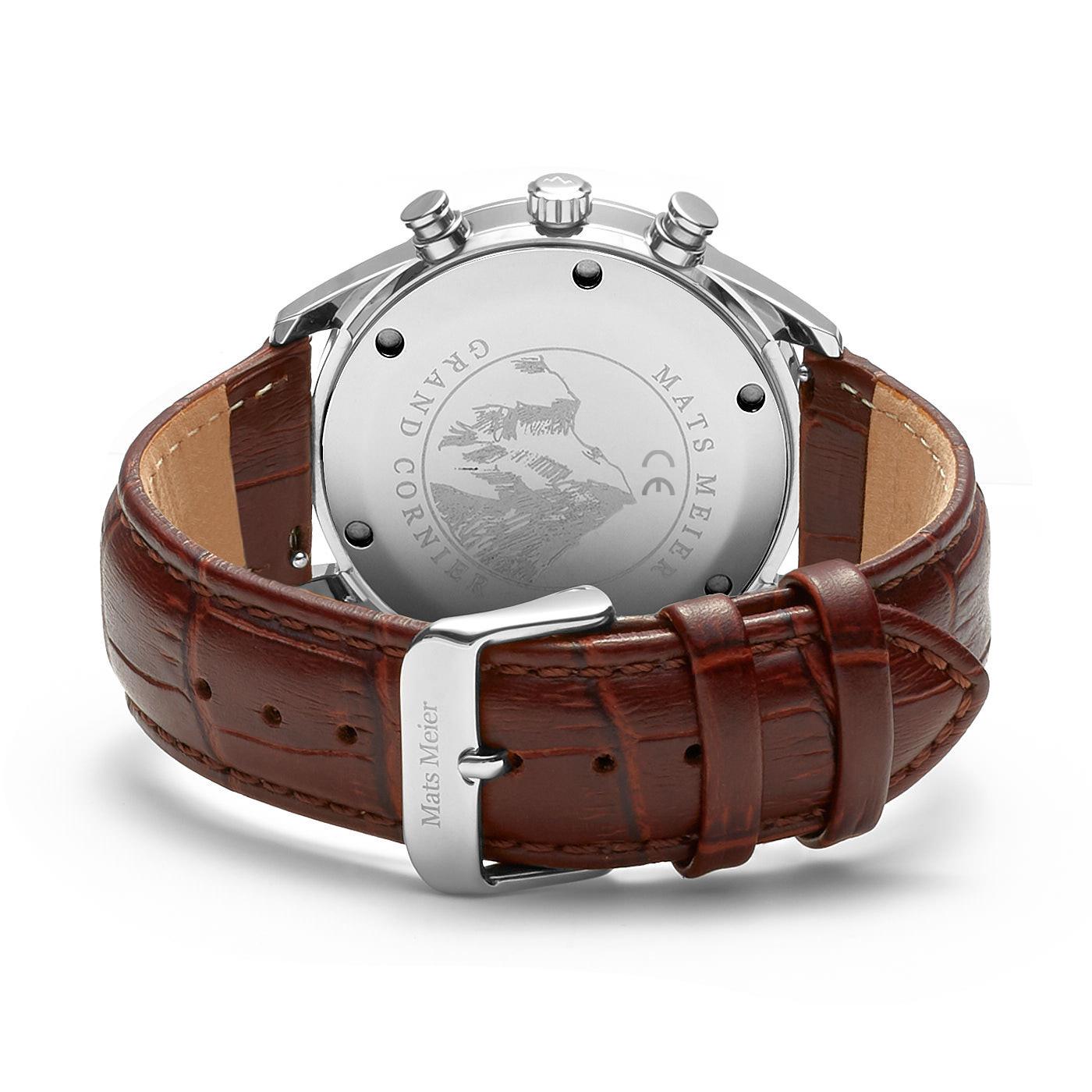 Mats Meier Grand Cornier chronograaf herenhorloge bruin en wit