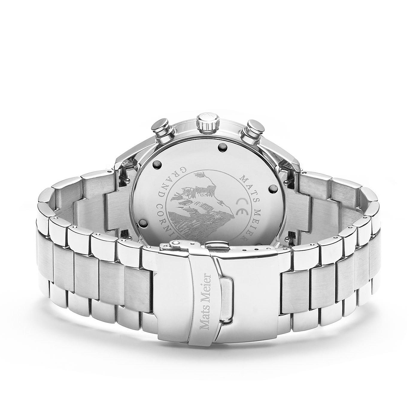 Mats Meier Grand Cornier montre chronographe noir / acier couleur argent