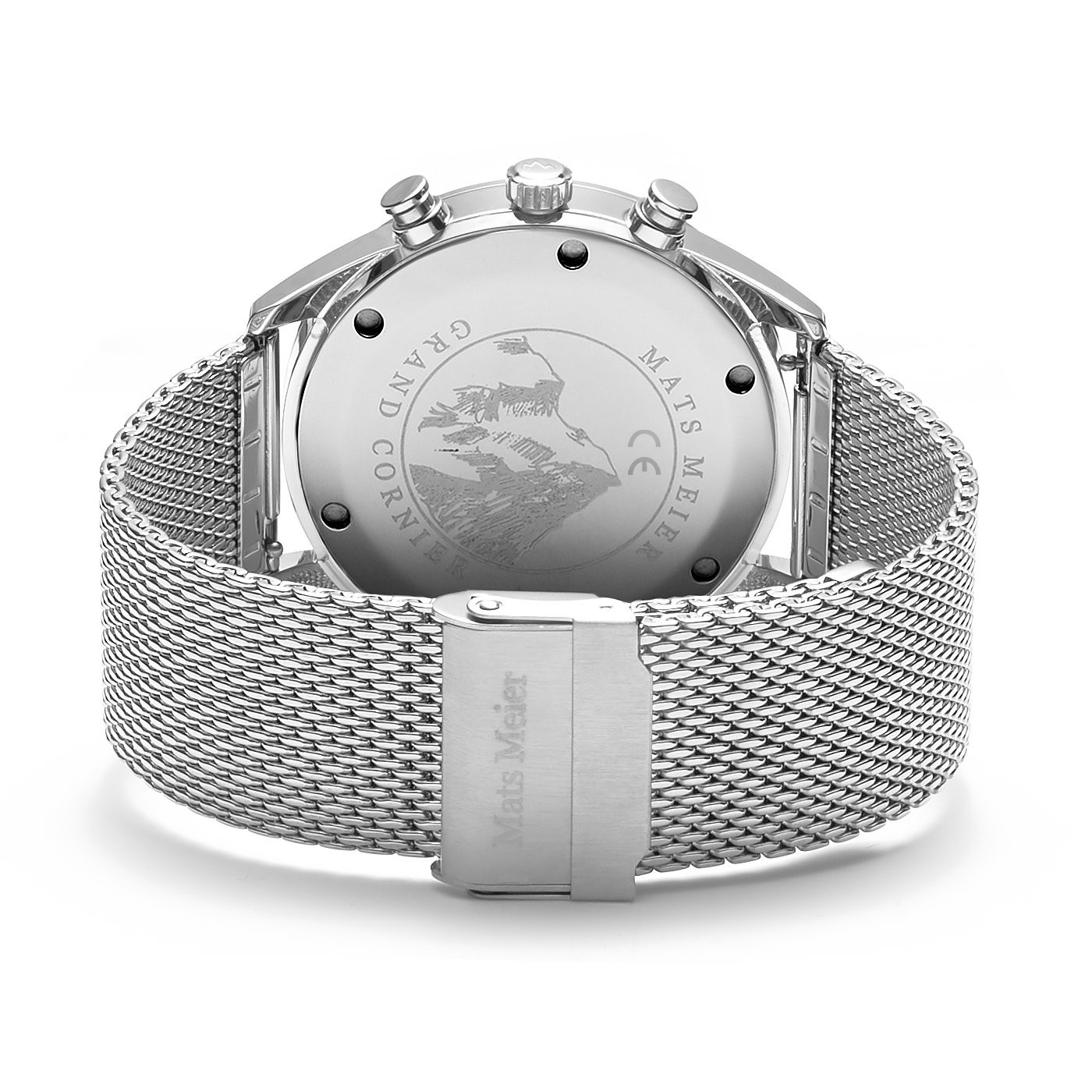 Mats Meier Grand Cornier chronograph mens watch blue / silver colored mesh