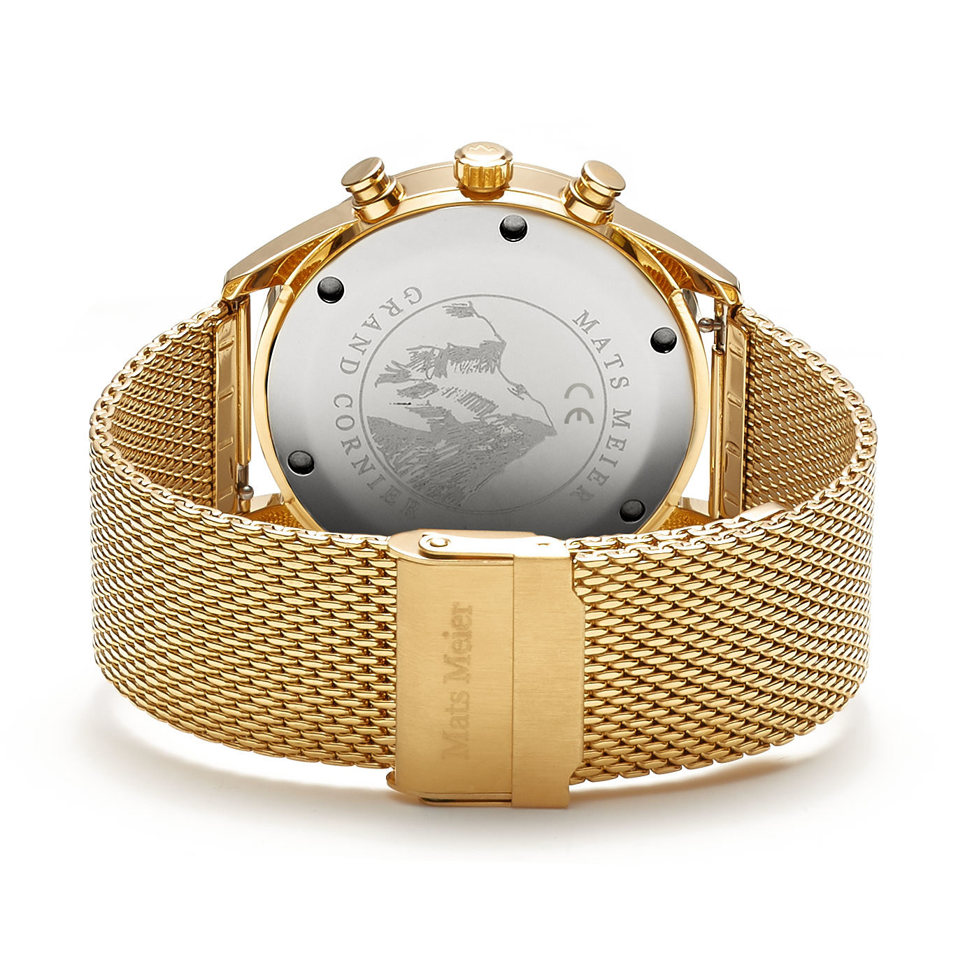 Mats Meier Grand Cornier chronograph mens watch green / gold colored mesh