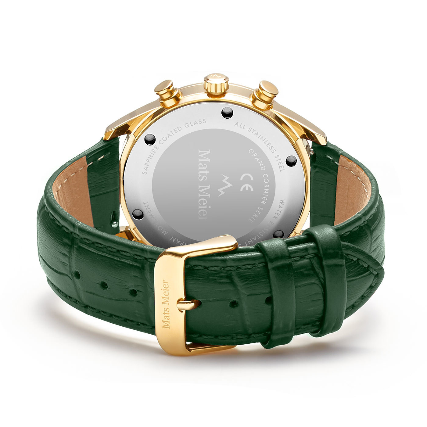 Mats Meier Grand Cornier chronograaf herenhorloge groen / goudkleurig